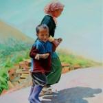 Het vertrek, 2014, Olieverf op doek,  80X60 cm