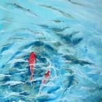 Twee vissen in het water,  2013, Olieverf op doek, 70X50 cm